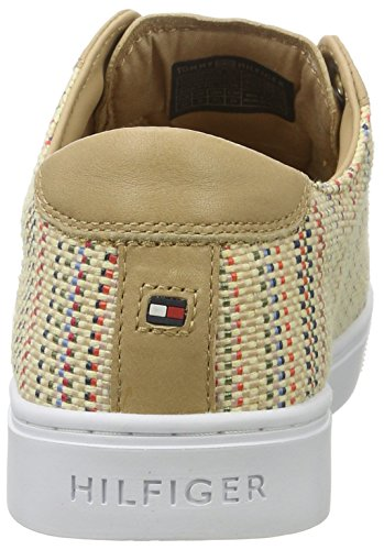 910 Multi 1c1 V1285enus Hilfiger Beige Basses Tommy Sneaker Femme Interweave qAF8w7