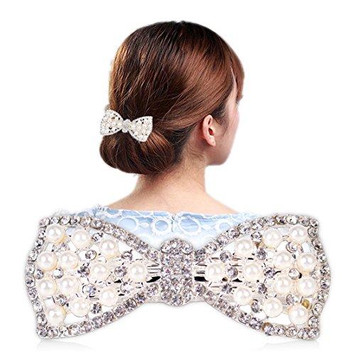 Hot Women Crystal Pearl Rhinestone Bow Hair Clip Hairpin Barrette Head (Pixie Bow Pins)