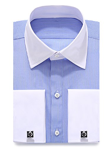 Dress Shirt Stripe (Alimens & Gentle French Cuff Regular Fit Dress Shirts (Cufflink Included) (17