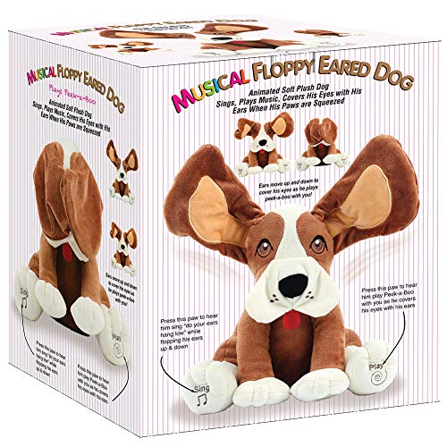 Animal House Plush Peek A Boo Singing Dog with Floppy Ears | Plays Peek-A-Boo & Sings Do Your Ears Hang Low?