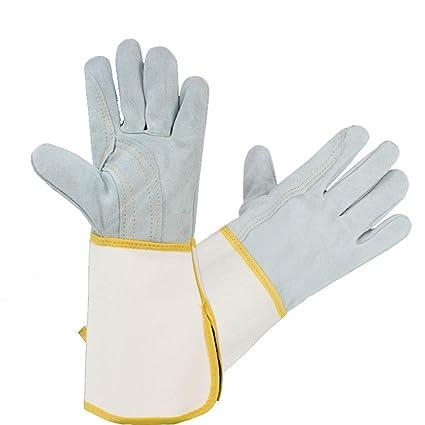 Hongyan Gloves Guantes de Soldadura, Mangas de Costura de Cuero, sección Larga, Aislamiento