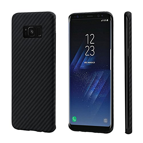 PITAKA Minimalist Case, Aramid Fiber[Real Body Armor Material]Super Slim 0.65mm Sturdy Durable Case Protective Snap-on Scratch Resistant Back Cover for Samsung (Black/Grey Twill, Galaxy S8) - Fibre Case