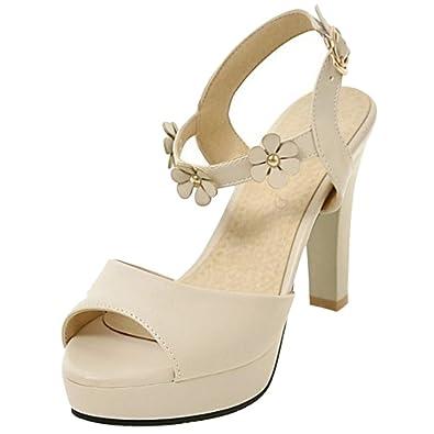 TAOFFEN Damen Peep Toe Sandalen Pumps Schuhe