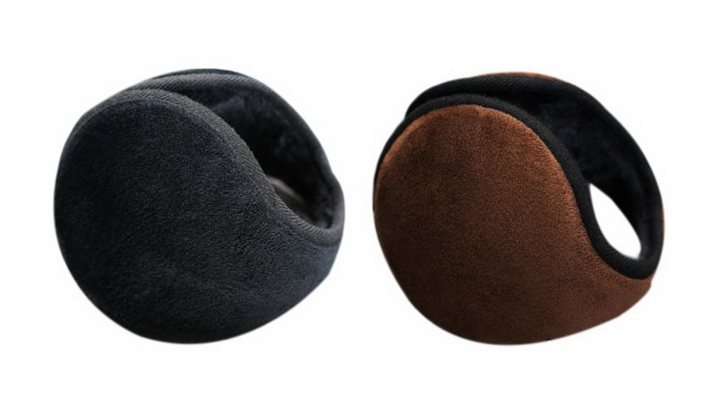 2 Pcs Warm Earmuffs Men's Winter Ear Cover Soft Plush Style Warmer Black + Brown GM-CLO2475021011-ZARA02403