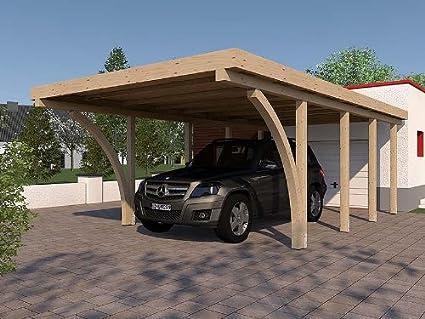 Carport SAN MARINO III - Encuadernadora (400 x 800 cm, con 2 hojas de madera encolada, tejado plano): Amazon.es: Jardín