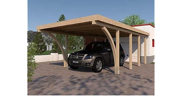 CarPort tejado plano Imola III 400 x 800 cm Kvh con 2 Cola Madera hojas construcción de madera maciza: Amazon.es: Coche y moto
