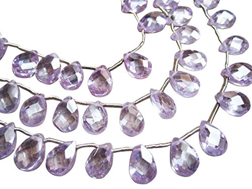 (Cubic Zirconia Beads, Pear Briolettes, Cubic Zirconia Pear Briolettes 8 inch Strand 6mm x 8mm )