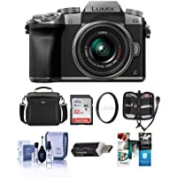 Panasonic Lumix DMC-G7 Mirrorless Micro 4/3s Camera with 14-42mm Lens, SILVER - Bundle with Camera Case, 32GB SDHC Card, Cleaning Kit, Memory Wallet, Card Reader, 46mm UV Filter, Software Package