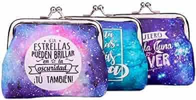 Lote 24 Monederos Universo Galaxia con Frases - Monederos Originales Detalles de Bodas, Bautizos, Comuniones, Cumpleaños y Eventos