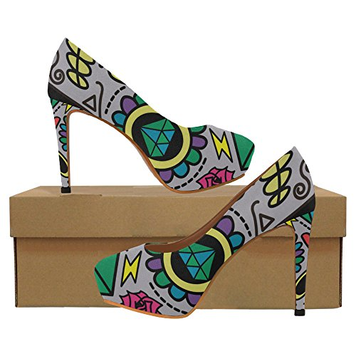 Sexy Skull3 Shoes Womens Heels dino Pump InterestPrint skeletons dinosaurs High silhouettes fossils xqYvwfTRP