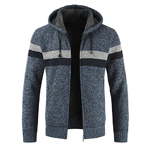 CUCUHAM Men's Autumn Winter Packwork Hooded Zipper Jacket Knit Cardigan Long Sleeve Coat(SkyBlue,X-Large)
