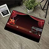 LOVEEO Bedroom Doormat,Musical Theatre Home Decor Orchestra Symphony Theme Stage Curtains Piano Cello,with No-Slip Backing,20'x31' Burgundy Brown Black