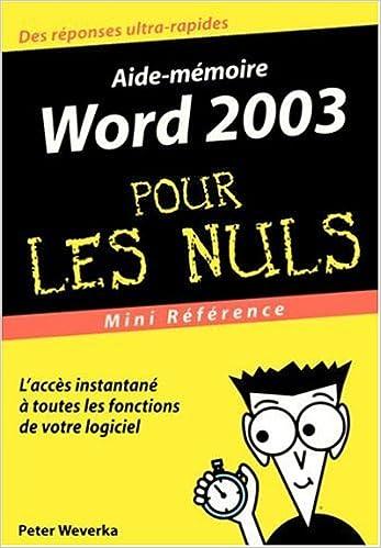 En ligne téléchargement gratuit Word 2003 : Mini référence pour les nuls epub, pdf