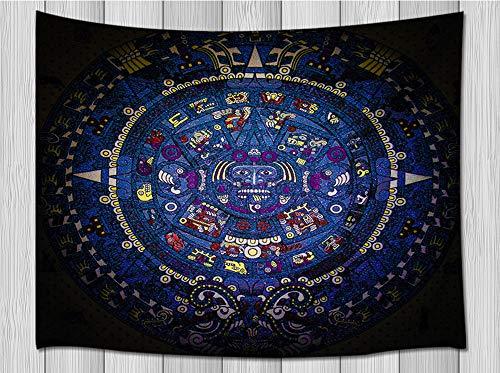 (JAWO Mayan Decor Tapestry Wall Hanging, Retro Art Mayan Calendar Bohemian Psychedelic Mandala Wall Tapestry Home Decoration Wall Decor Art Tapestries Bedroom Living Room College Dorm)