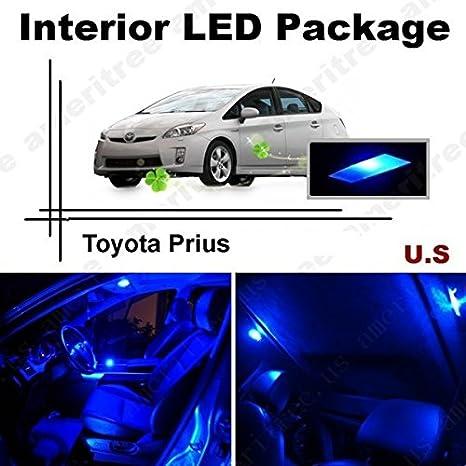 ameritree Toyota Prius 2004 - 2008 (10 piezas) color azul LED luces interior kit de paquete + azul LED de la matrícula: Amazon.es: Coche y moto