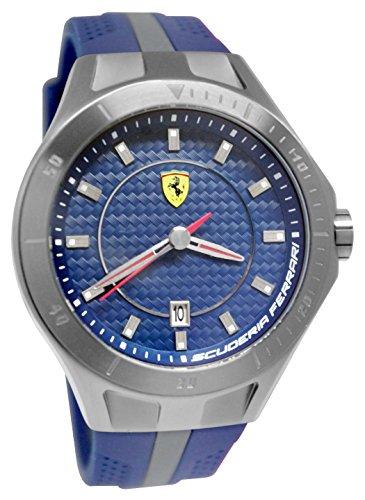 0830081 Date Race Grey New Scuderia Red Men Ferrari Watch Blue Rubber ZukPOXTi