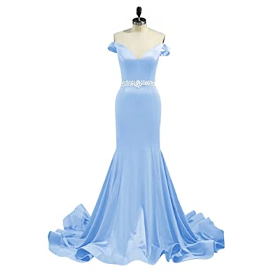 Womens Formal Off the Shoulder Long Prom Dress Beading Fishtail Evening Dresses Gown AiniDress Baby Blue