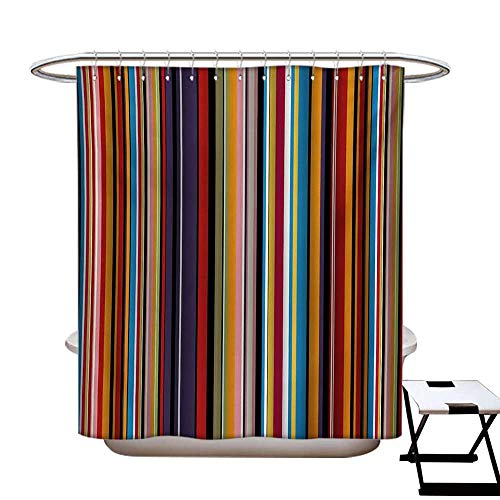 (Abstract Shower Curtains 3D Digital Printing Vibrant Colored Stripes Vertical Pattern Funky Modern Artistic Tile Illustration Custom Made Shower Curtain W48 x L72 Multicolor)