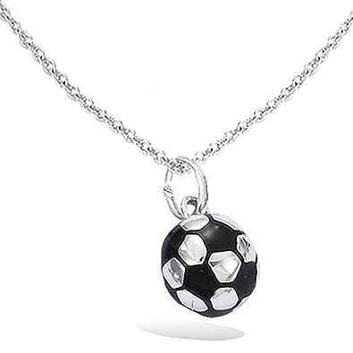 Colgante de plata 925/000 Circona balón de fútbol - Fútbol - Negro ...