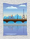 asddcdfdd Apartment Decor Tapestry, Lady Cycling In Paris Fluffy Clouds Bridge Reflection On River Urban Lifestyle Cartoon, Bedroom Living Room Dorm Decor, 40 W x 60 L Inches, Blue Brown