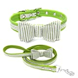 Chilie Classic Stripe Grids Dog Bow Tie Collar Strap Buckle Adjustable PU Pet Supplies Cat Kitten Puppy Collar Rope