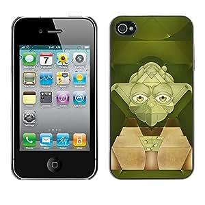 SoulCase / Apple Iphone 4 / 4S / Star Galaxy Yoda Art / Delgado Negro Plástico caso cubierta Shell Armor Funda Case Cover