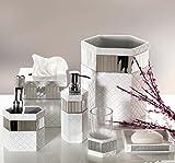 "Quilted Mirror Tissue Box Cover Square (6"" x 6"" x 5.75"") – Decorative Bath Tissues Paper Napkin Holder- Modern Serviette Napkins Container- Bottom Slider- For Cute Elegant Bathroom Décor"