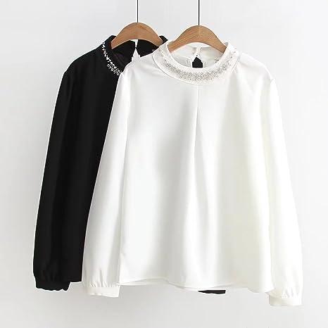 GAOLIM Camisa De Gran Tamaño Mujer Grasa Mm Cuello Redondo Pullover Camisa Blanca Camisa Suelta, 3XL, Blanco: Amazon.es: Deportes y aire libre