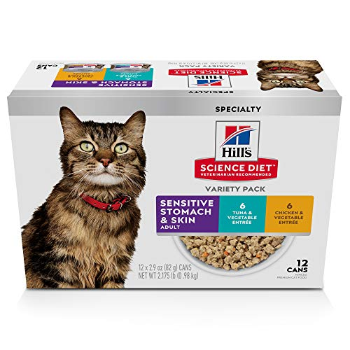 Hill's Science Diet Adult Sensitive Stomach & Skin Canned Cat Food, 2.9-Ounce Cans