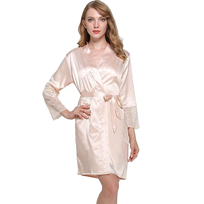 JZLPIN Mujeres Kimono Túnica Seda Bata de baño Dama de honor Sexy Boda Ropa de Dormir Loungewear: Amazon.es: Ropa y accesorios