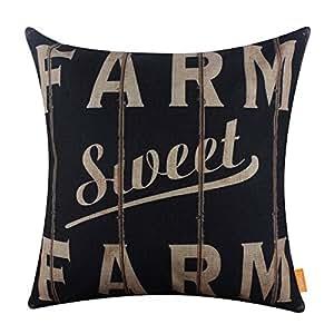 LINKWELL 18x18 inches Vintage Looking Farmhouse Farm Sweet Farm Burlap Pillowcase Throw Cushion Cover (CC1266)