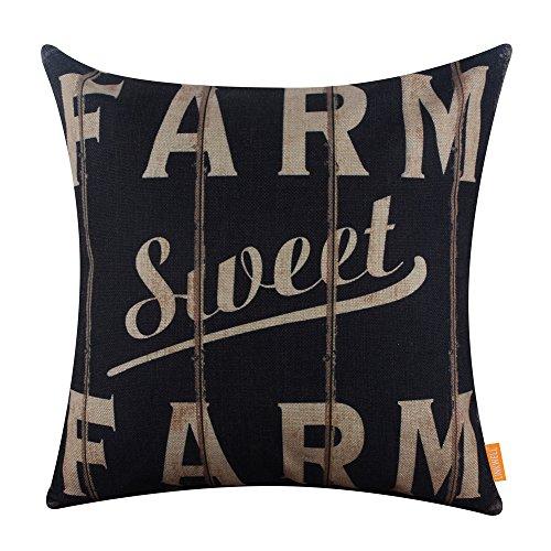 Cheap  LINKWELL 18x18 inches Vintage Looking Farmhouse Farm Sweet Farm Burlap Pillowcase Throw..