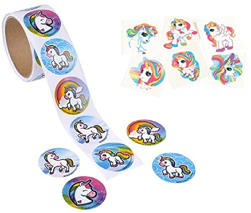 Novelty Treasures Mystical Unicorn Party Set 100 Sticker Roll and 144 Tattoos ()