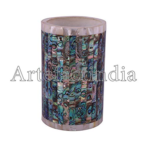 Artefactindia White Marble Inlay Paua Shell Pencil Holder for Table 6