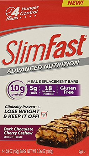 Slim Fast Advanced Nutrition Meal Replacement Bar, Chocolate Cherry Cashew, 4 Bars, 1.59 oz. each