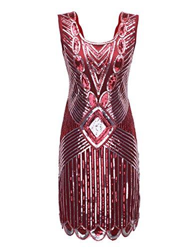 Scalloped Sequin (PrettyGuide Women's 1920s Gatsby Sequin Art Deco Scalloped Hem Inspired Flapper Dress M Burgundy)