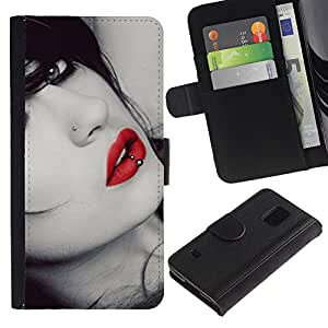 iKiki Tech / Cartera Funda Carcasa - Lips Sensual Woman Lady Girl Sexy Red Gaze - Samsung Galaxy S5 V SM-G900