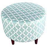 MJL Furniture Designs Sophia Collection Fabric Upholstered Round Footrest Ottoman with Round Espresso Finished Legs, Fulton Series, Snowy