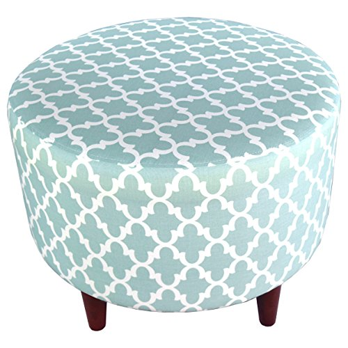 MJL Furniture Designs Sophia Collection Fabric Upholstered Round Footrest Ottoman with Round Espresso Finished Legs, Fulton Series, Snowy by MJL Furniture Designs