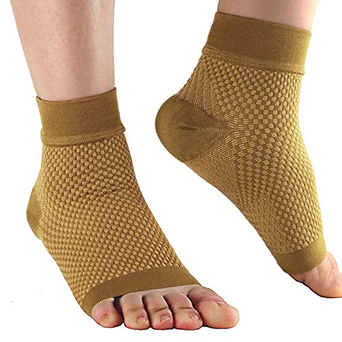 Compression Foot Sleeves for Plantar Fasciitis – Best Arch Support Copper Socks for Heel Pain, Swelling,Pain Relief and Running 20-30 mmHg for Men and Women(1Pair), L