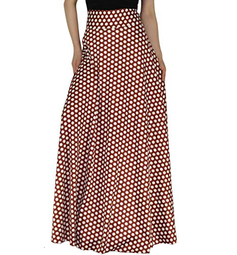 YSJERA Women's High Waist A-Line Pleated Solid Vintage Swing Maxi Skirts Midi Skirt Party (M, Polka Dot LEN 47.2