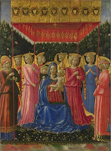 Oil painting 'Benozzo Gozzoli - The Virgin and Child with Angels,about 1447-50' printing on high quality polyster Canvas , 20x27 inch / 51x69 cm ,the best Game Room decor and (Bond Themed Party Costume)
