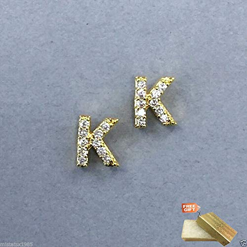 Trendy Gold Finish Accent Initial K Cubic Zirconia Rhinestones Stud Earrings For Women Set + Gold Cotton Filled Gift Box