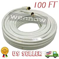 WennoW® 100ft RG6 F-Type Coaxial 75Ohm White Cable for Antennas Cable and Satellite TV