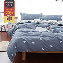 Uozzi Bedding 3 Piece Duvet Cover Set Queen, Reversible Printing with Brushed Microfiber White Triangle with Gray&Blue Pattern,Best New Year Gift for Family, Kids, Boys, Men, Lover(Gray&Blue, Queen)