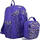 Fuel School Backpack Bookbag & Lunch Bag Bundle, Purple Ditsy Floral Deal (Small Image)