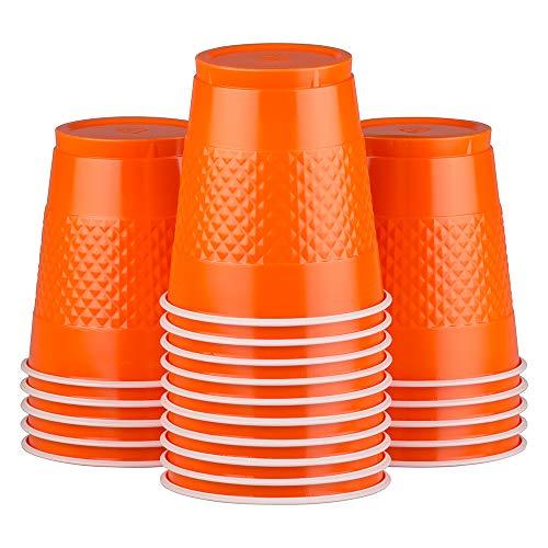 JAM PAPER Plastic Party Cups - 12 oz - Orange - 20 Glasses/Pack