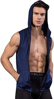 Sport Débardeur à Capuche T-Shirt de Sport Compression Homme Maillot Manches Longues Vetement de Fitness Football Jogging Cyclisme Workout Running Vêtements à séchage rapide (S, Marine)