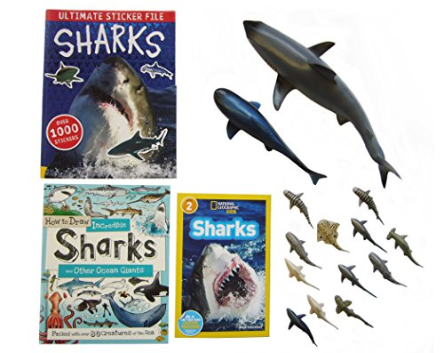 Shark Toys & Book set-Hours of fun for any Shark lover. Includes (1) 14'in Shark, (1) 8'in Shark, (12) 3'in Mini Sharks,(1) Activity Sticker book, (1) Shark drawing book, (1) Shark book. For kids 3+ by Stardust Solutions