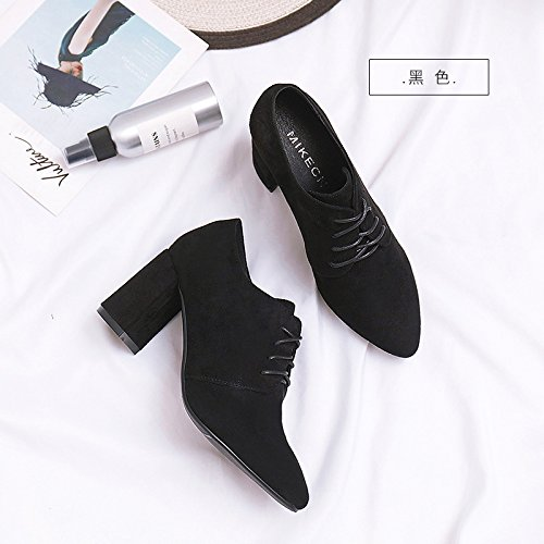 Single With Shoes Thick Early Spring Deep Heels High Shoes Women'S Jqdyl Female heels Pointed Black Wild Black High vzSwq08Ex
